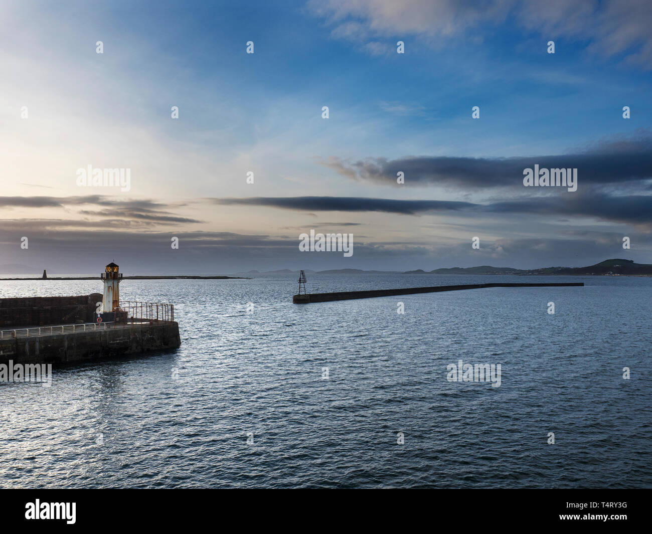 Ardrossan Harbour at Dusk North Ayrshire Scotland - Stock Image