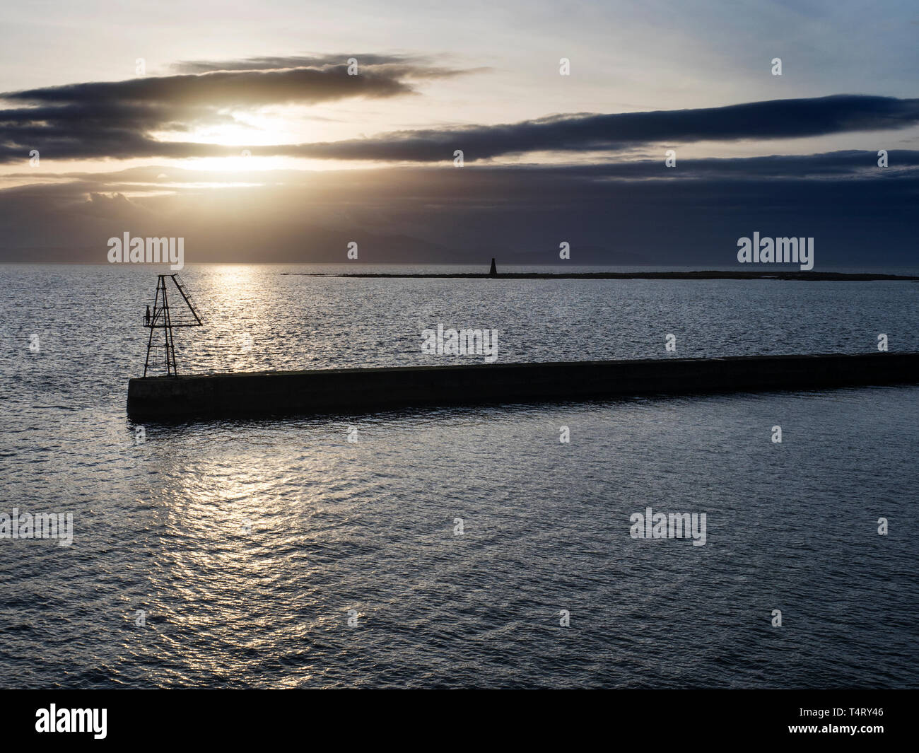 Ardrossan Harbour and Horse Isle at Sunset North Ayrshire Scotland - Stock Image