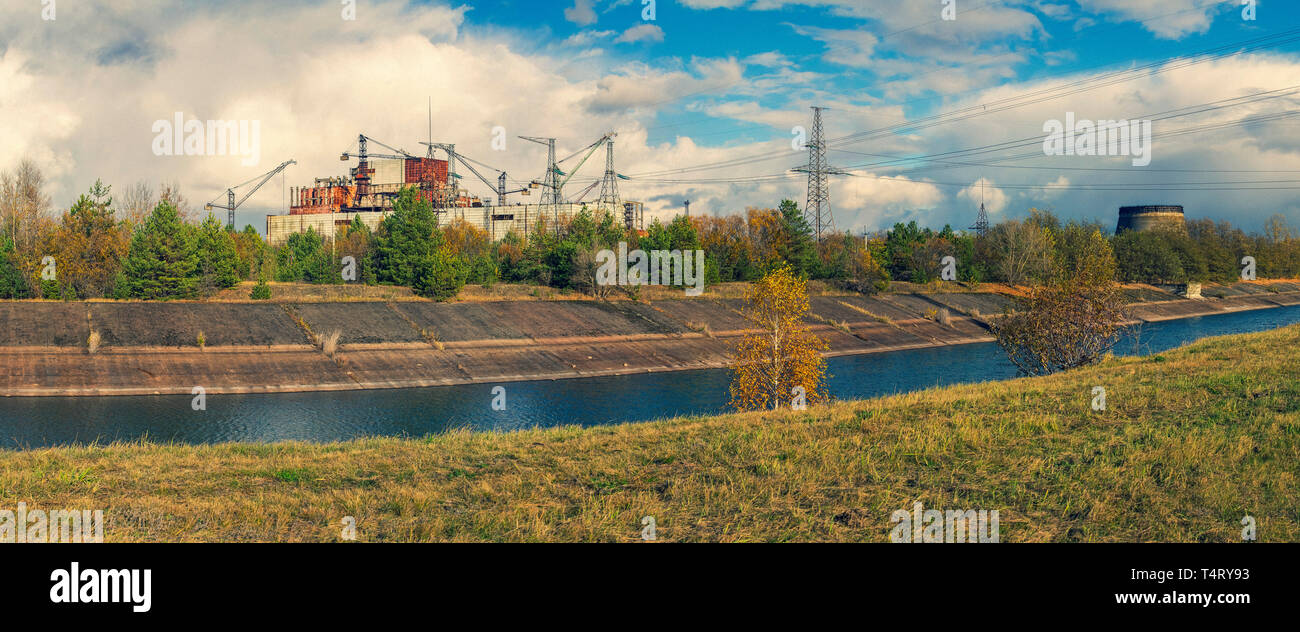 Abandoned territory in Ukraine nearby Chernobyl Nuclear Power Plant.  It was evacuated on the 27th of April 1986, day after the most devastating nucle Stock Photo