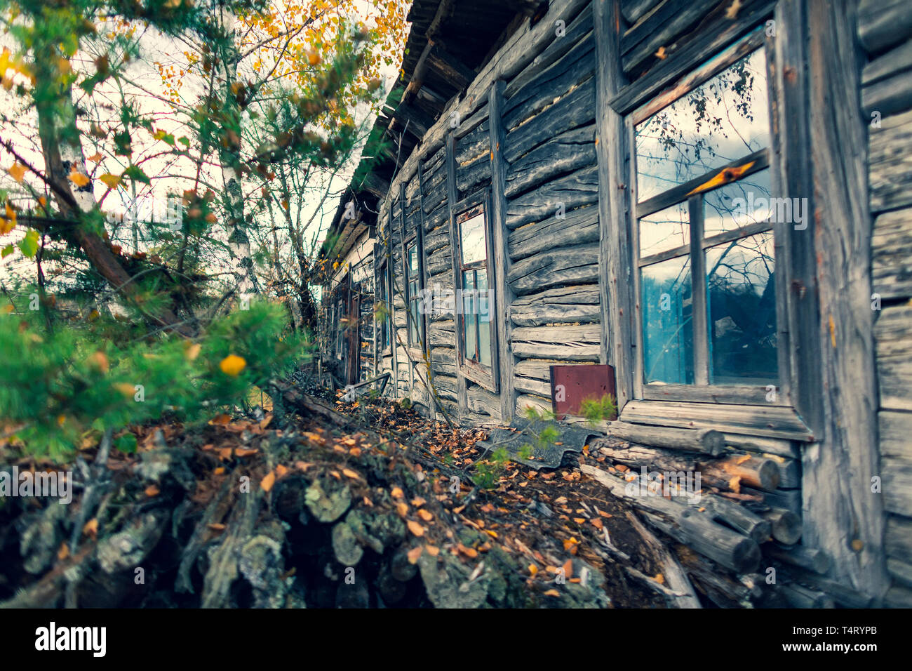 Abandoned Village Masheva in Ukraine nearby Chernobyl Nuclear Power Plant.  It was evacuated on the 27th of April 1986, day after the most devastating Stock Photo