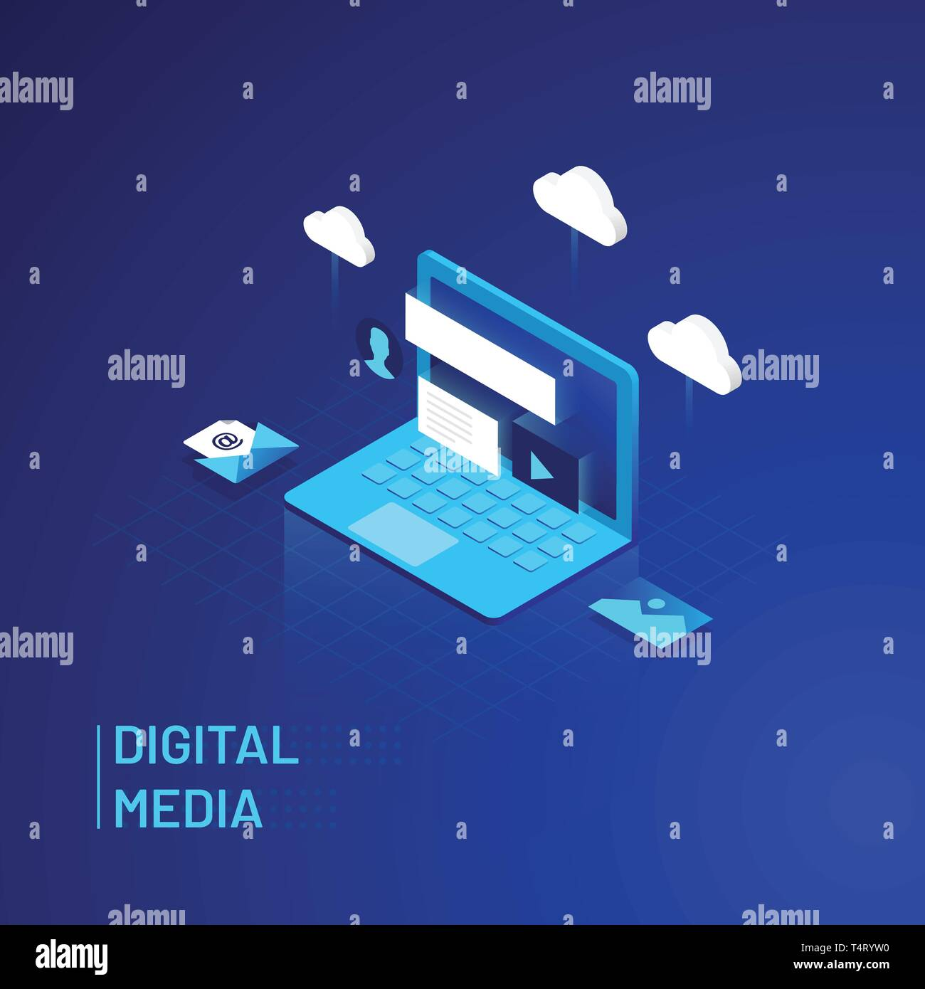 Digital Media - Isometric Vector Illustration - Stock Image