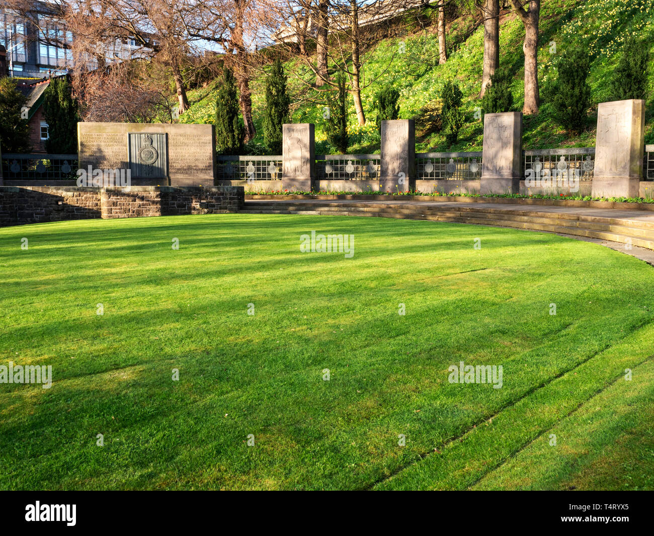 Royal Scots Monument in West Princes Street Gardens Edinburgh Scotland - Stock Image