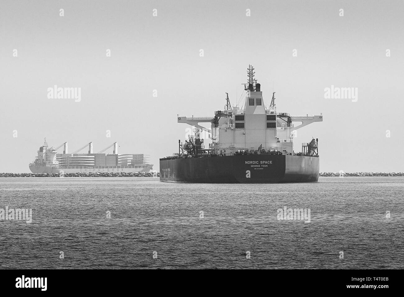Black And White Photo Of The Giant Supertanker (Crude Oil Tanker), NORDIC SPACE, Anchored In The Port Of Long Beach, California, USA. - Stock Image