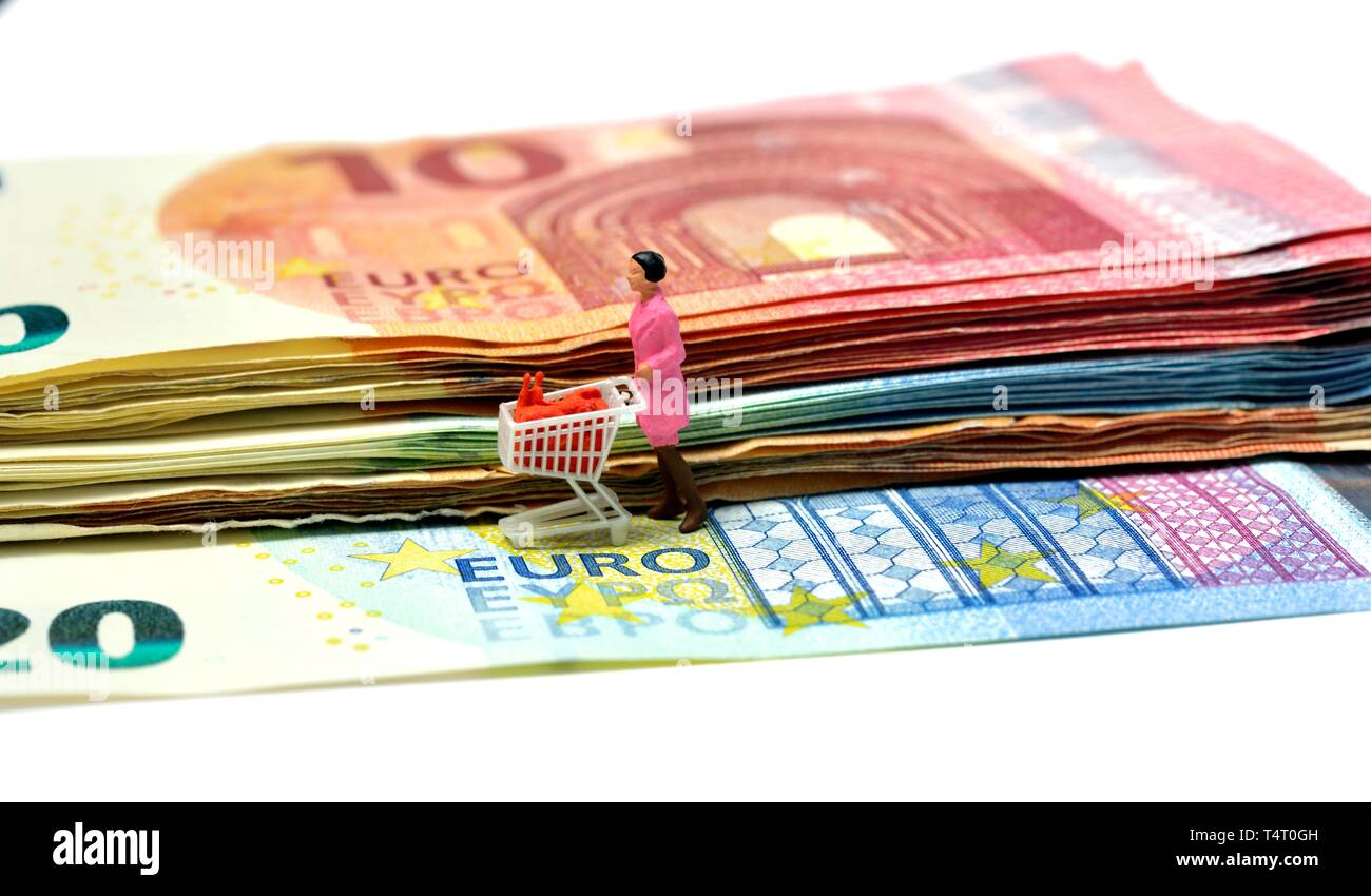 Miniature figurine,woman pushing shopping trolley, on euro notes,currency,concept,concepts - Stock Image