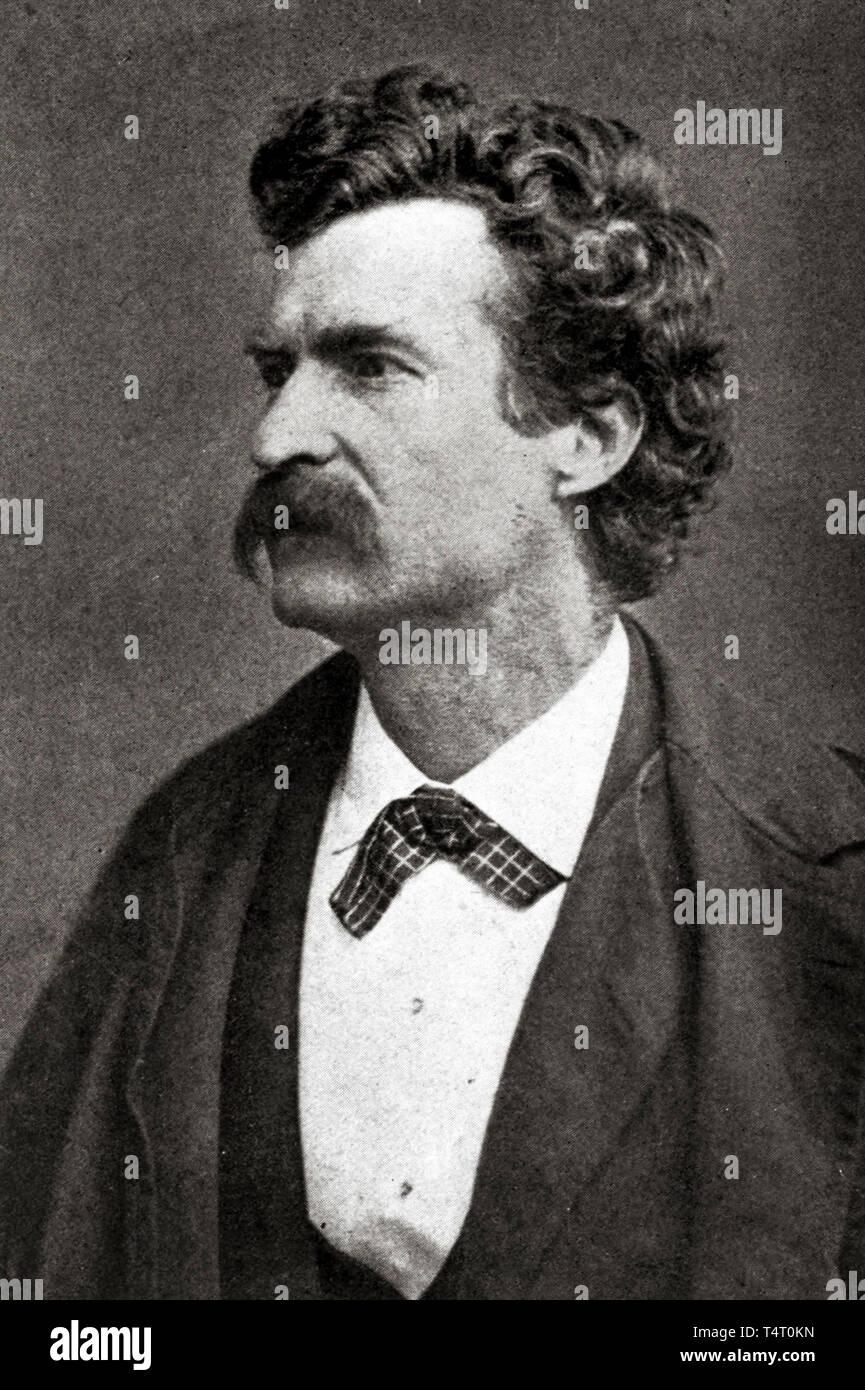 Mark Twain (1835-1910), portrait photograph, c. 1872, published 1922 Stock Photo