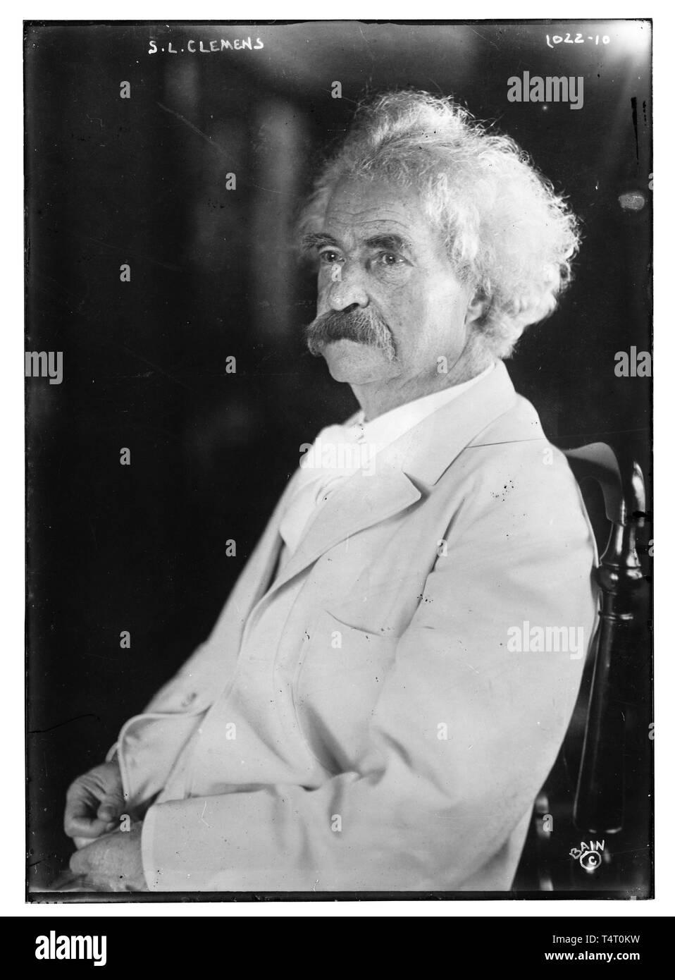 Mark Twain (1835-1910), portrait photograph, before 1910 Stock Photo