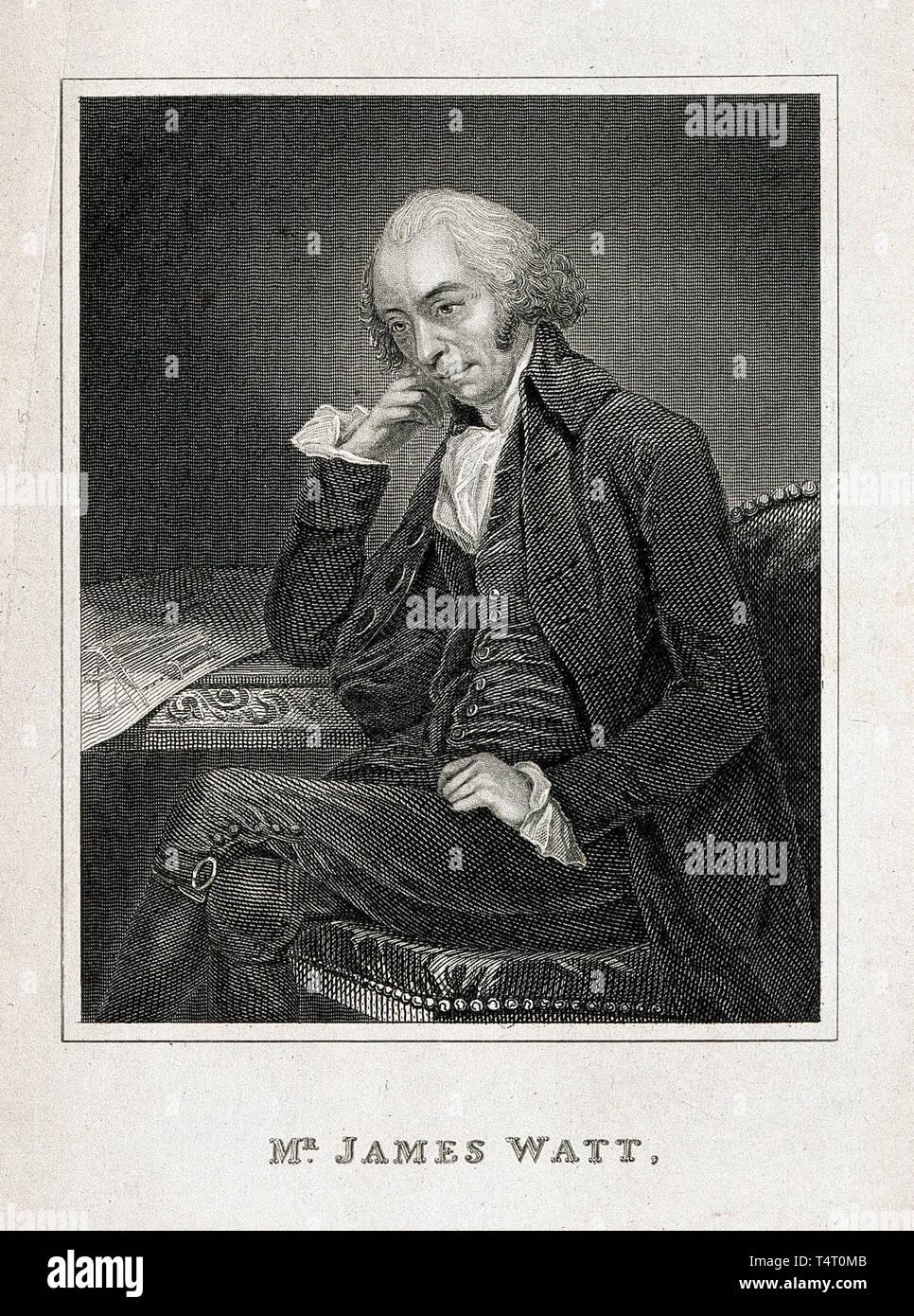 James Watt (1736-1819) portrait engraving after C. F. von Breda, 1792 Stock Photo
