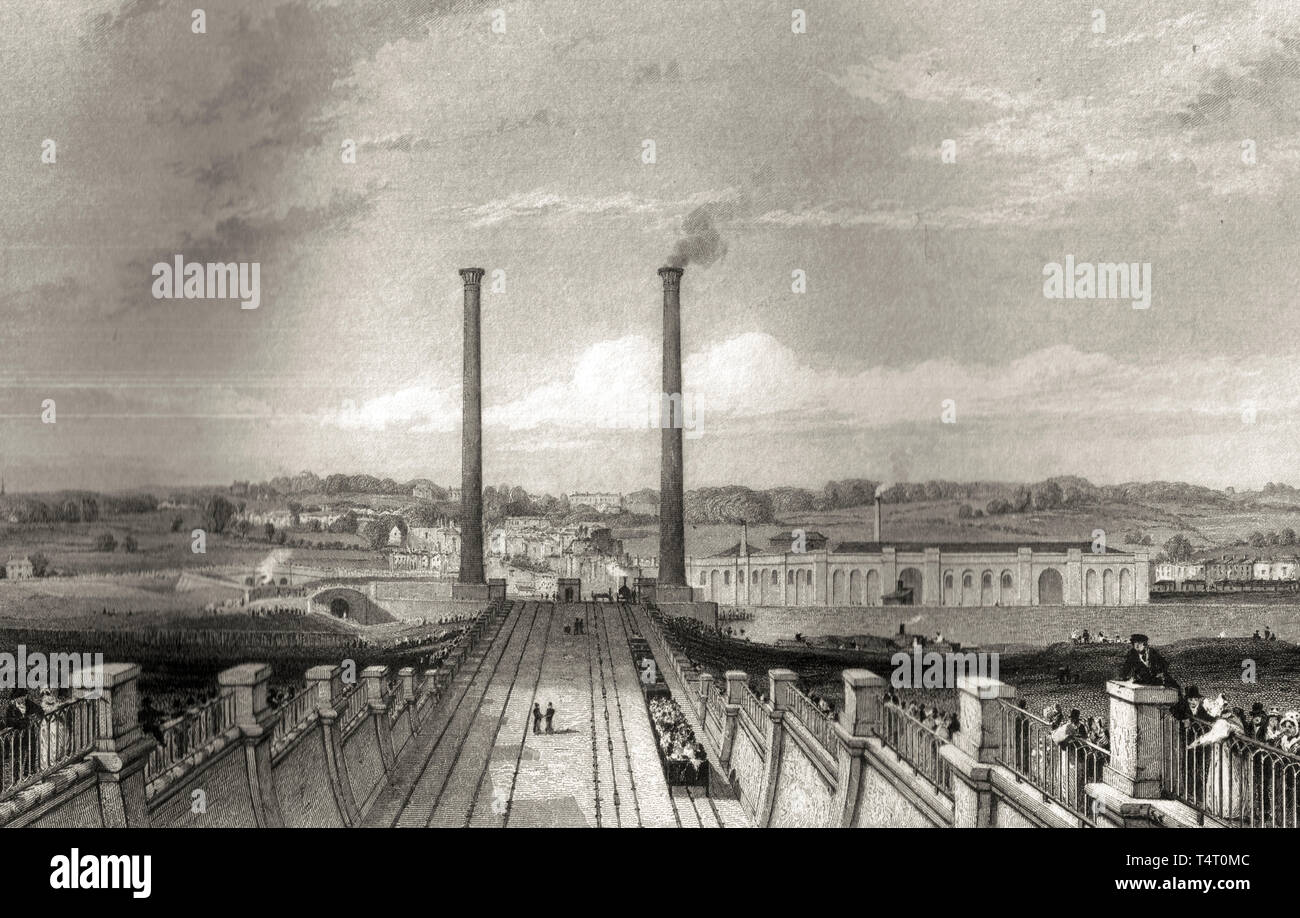 Camden Town engine works and stationary engine chimneys, built on the London and Birmingham Railway, etching, Thomas Roscoe, 1839 Stock Photo