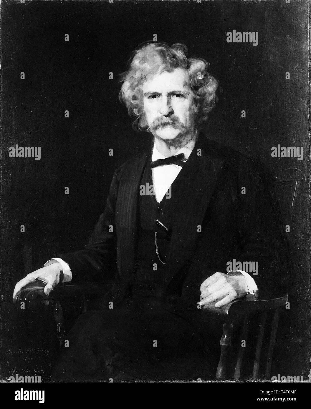 Mark Twain (1835-1910), portrait painting by Charles Noel Flagg, 1890 - Stock Image