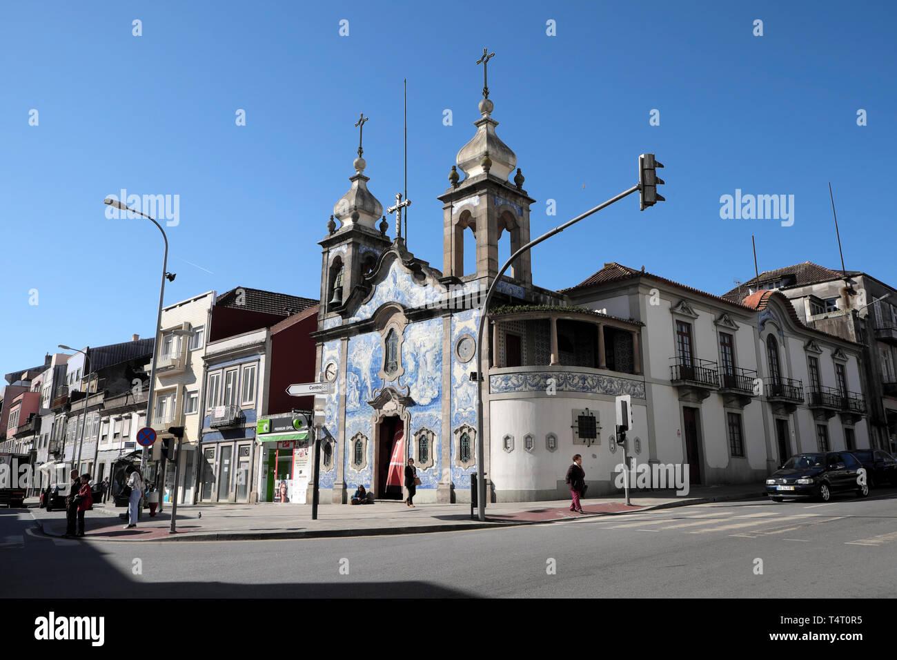 Azulejos tiles on Igreja Paroquial do Carvalhido church on the corner of Praça do Exército Libertador and  Rua da Prelada Porto Portugal  KATHY DEWITT - Stock Image
