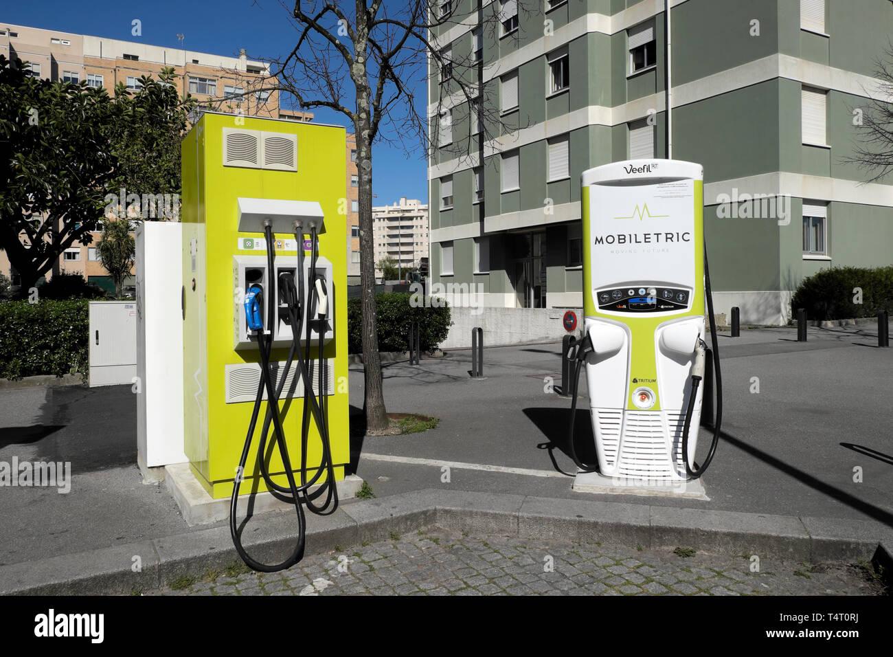 Mobiletric fast charging electric fuel pump station outside an apartment building in Avenida da França Porto Portugal Europe EU  KATHY DEWITT - Stock Image
