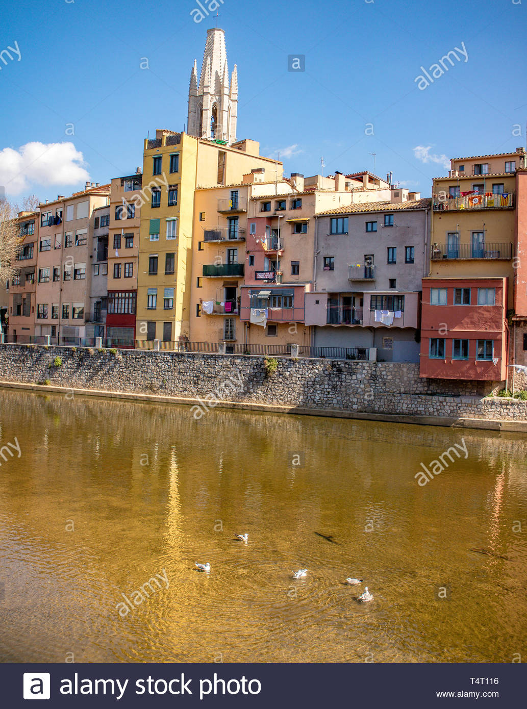 Riu Onyar riverside apartments with Girona Cathedral in the background Stock Photo