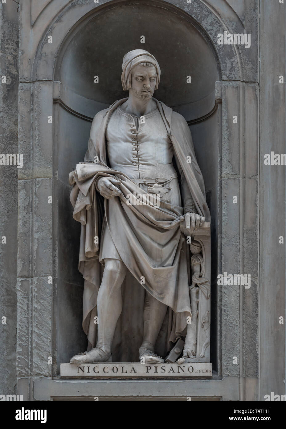 Statue of Nicola Pisano in Florence, Capital of Tuscany, Italy Stock Photo