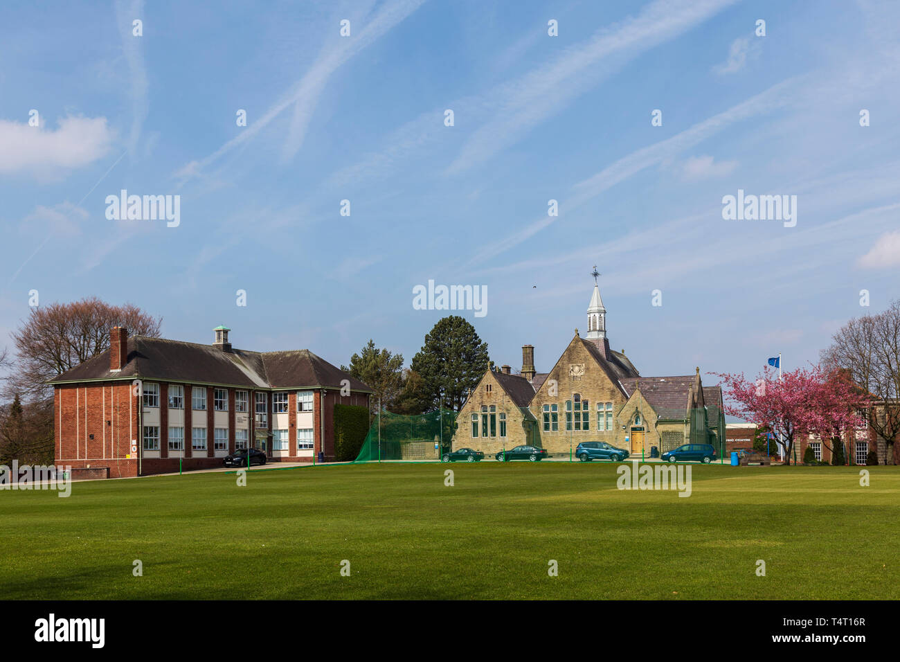 Kings School, Macclesfield on a Bright and Sunny April Morning - Stock Image