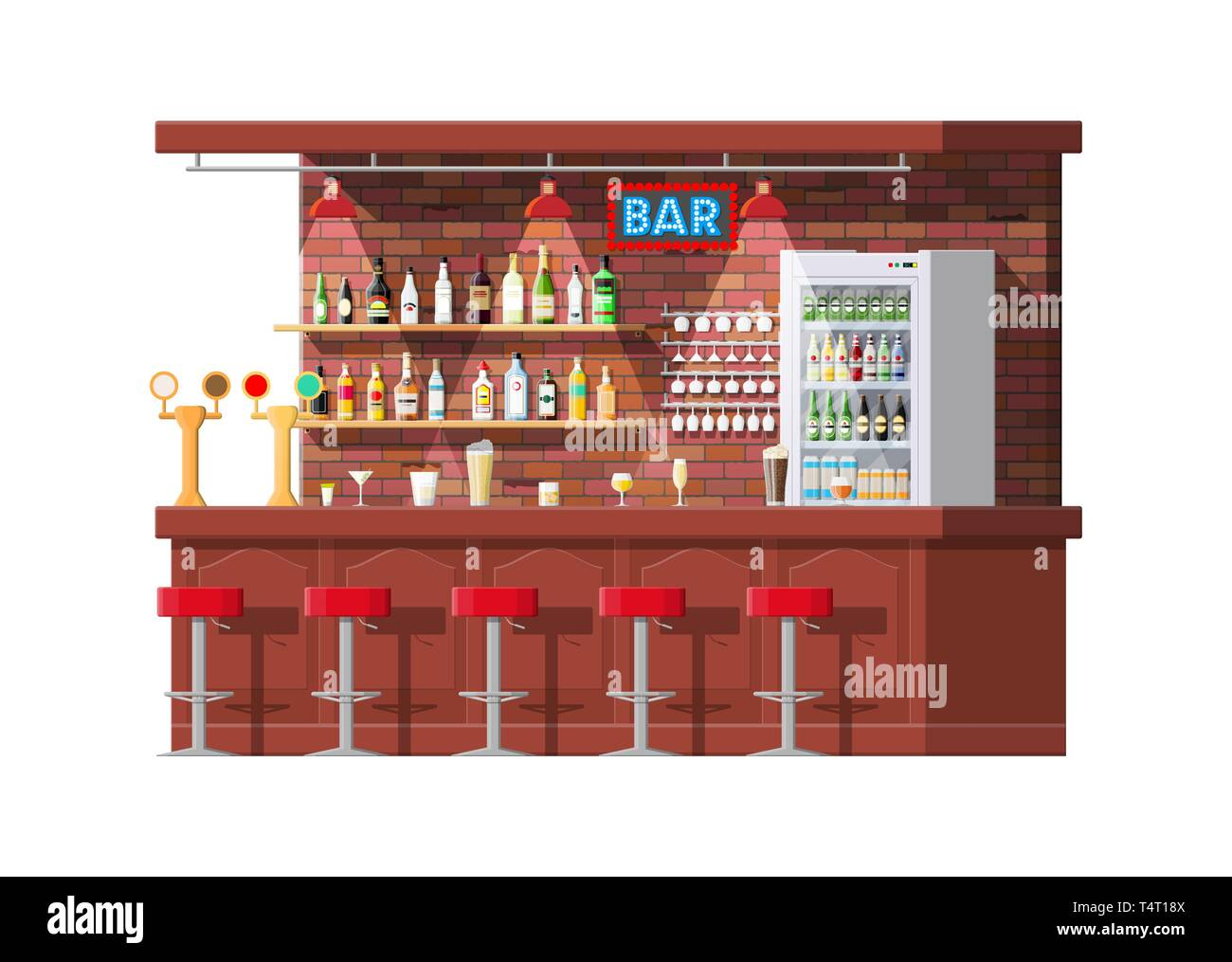 Drinking establishment. Interior of pub, cafe or bar. Bar counter, chairs and shelves with alcohol bottles, refrigerator. Glasses and lamp. Wooden dec Stock Vector