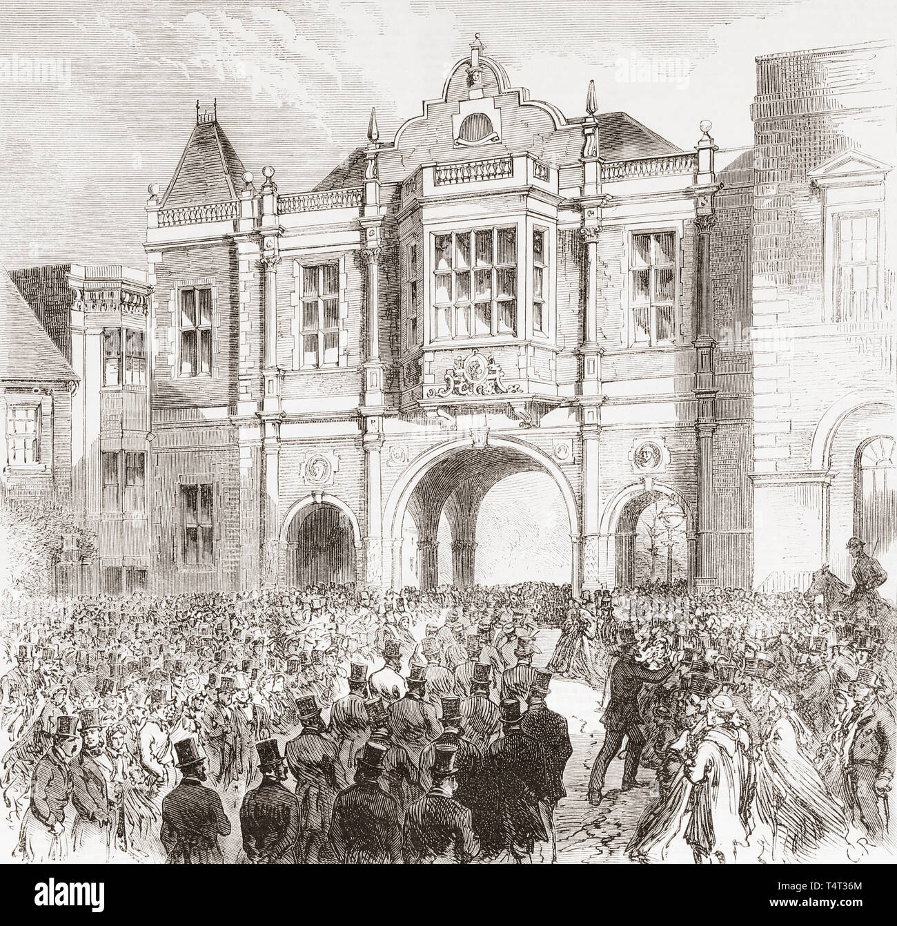 Opening of the new Corn Exchange, Aylesbury, England in the 19th century.  The corn exchange was the place where farmers and grain merchants bartered for, and fixed the price of grain.  From The Illustrated London News, published 1865. - Stock Image