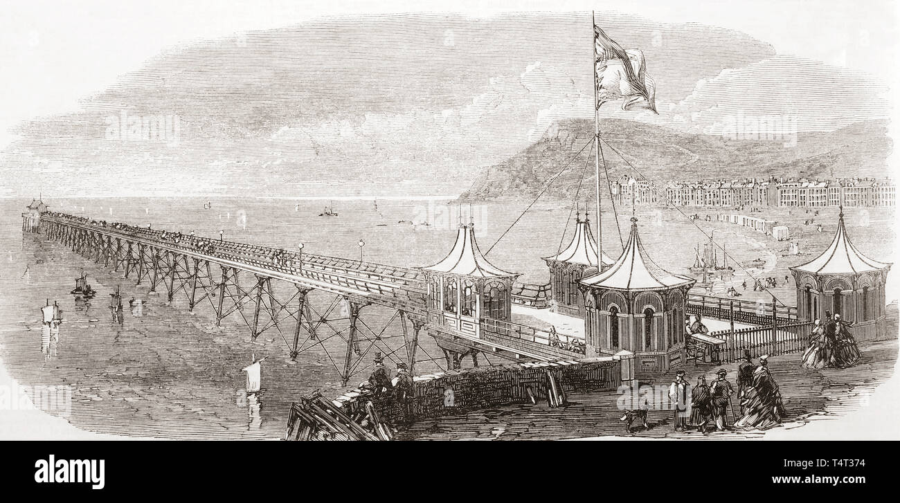 The new Royal Pier at Aberystwith, Ceredigion, Wales, opened in 1865.  From The Illustrated London News, published 1865. - Stock Image