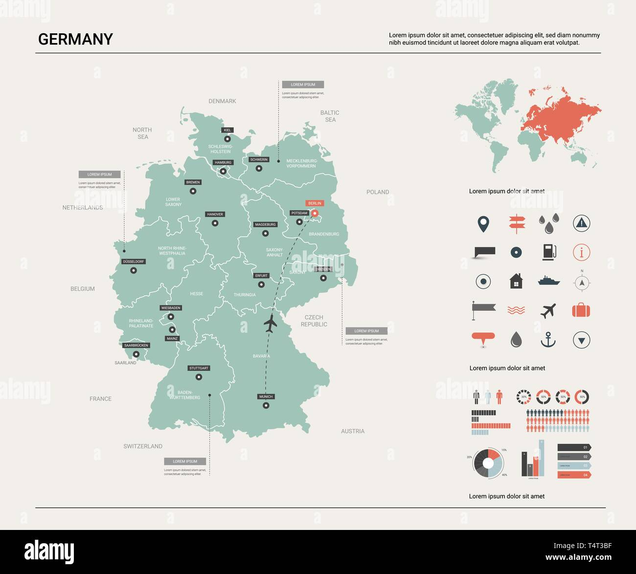 Vector map of Germany. High detailed country map with ...