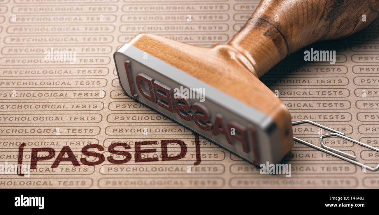 3d illustration of a rubber stamp with the text passed and a brown paper with the repeated phrase psychological test printed on it. Pre-employment tes - Stock Image