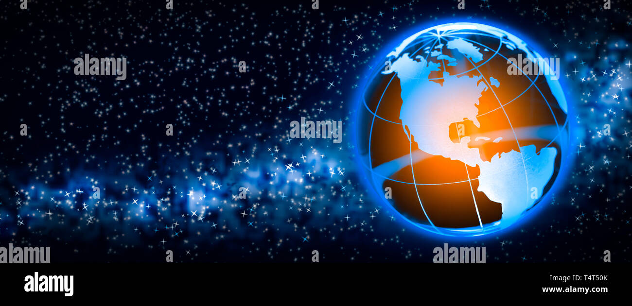 Earth In Space With Orange Glowing Core / Global Warming Concept - Stock Image