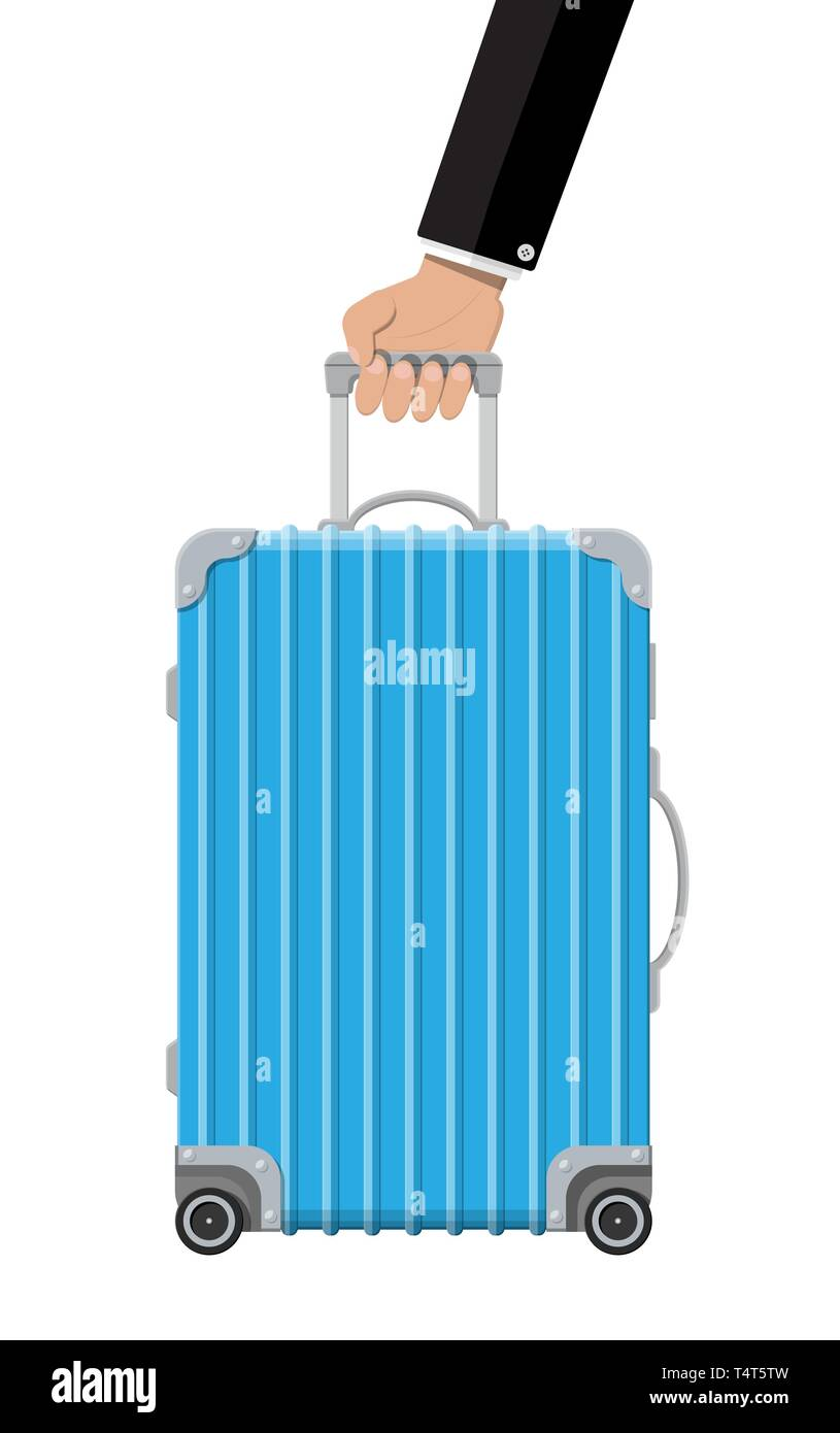 Blue Travel Bag In Hand Plastic Case Trolley On Wheels Travel Baggage And Luggage Vector Illustration In Flat Style Stock Vector Image Art Alamy