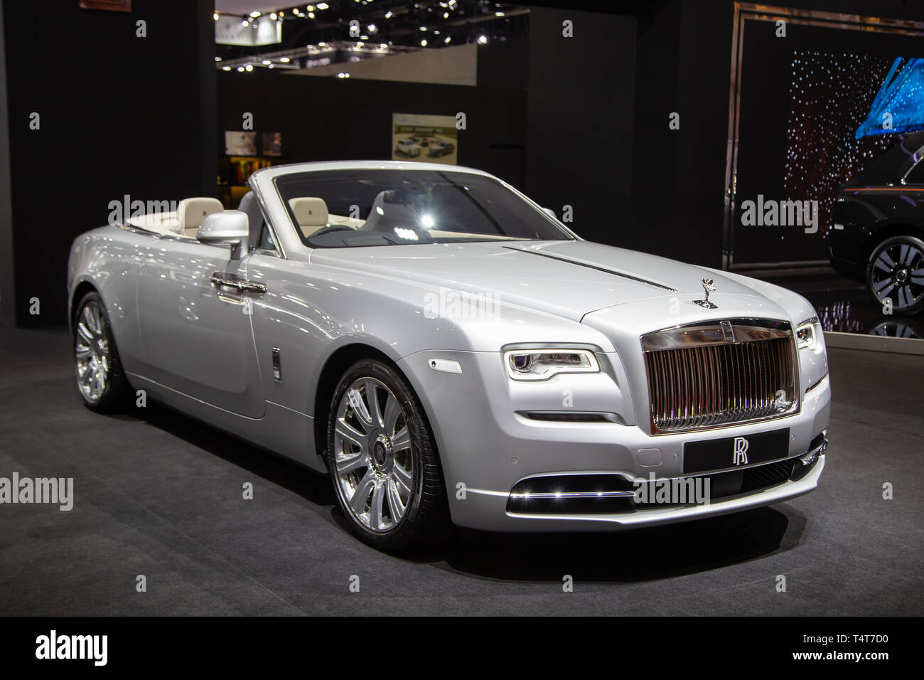 Nonthaburi, Thailand - April 3, 2019: Rolls Royce Ghost Convertible luxury car presented in Motor Show 2019 - Stock Image