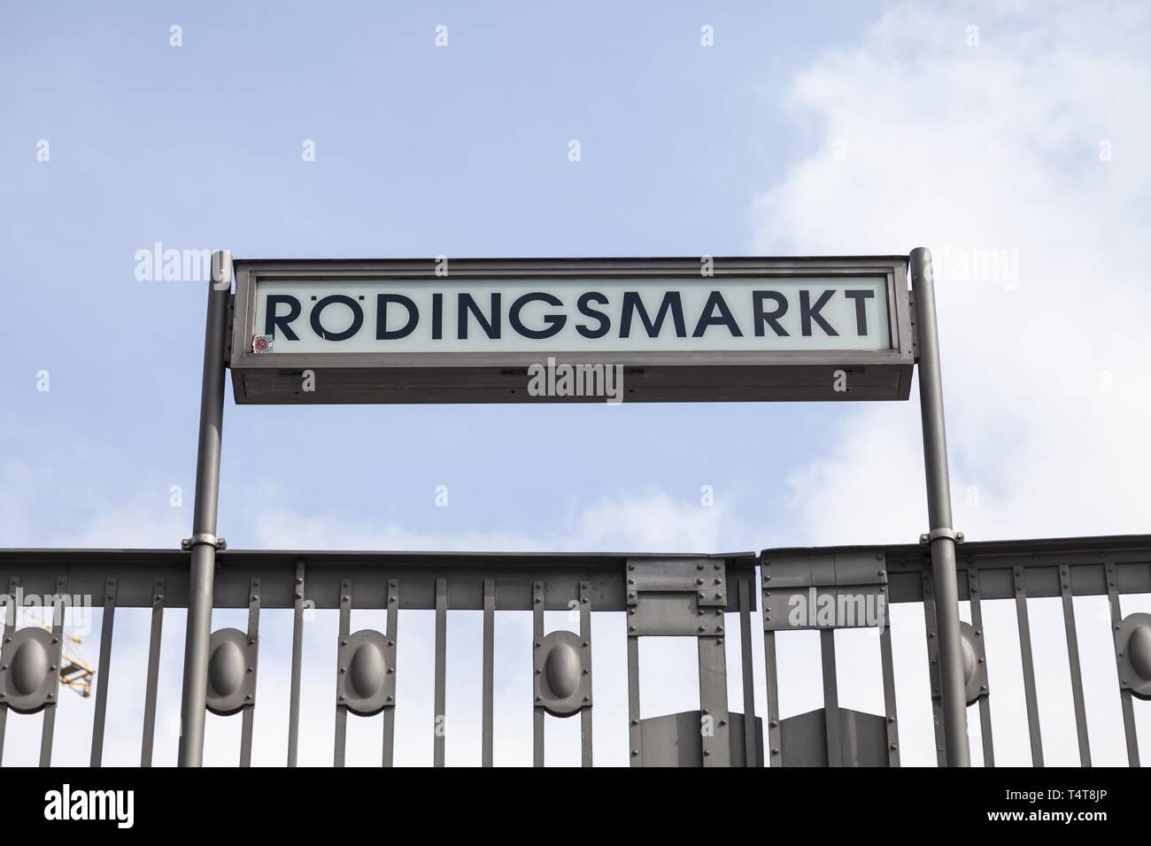 Metro sign, Rödingsmarkt, Hamburg, Germany, Europe - Stock Image