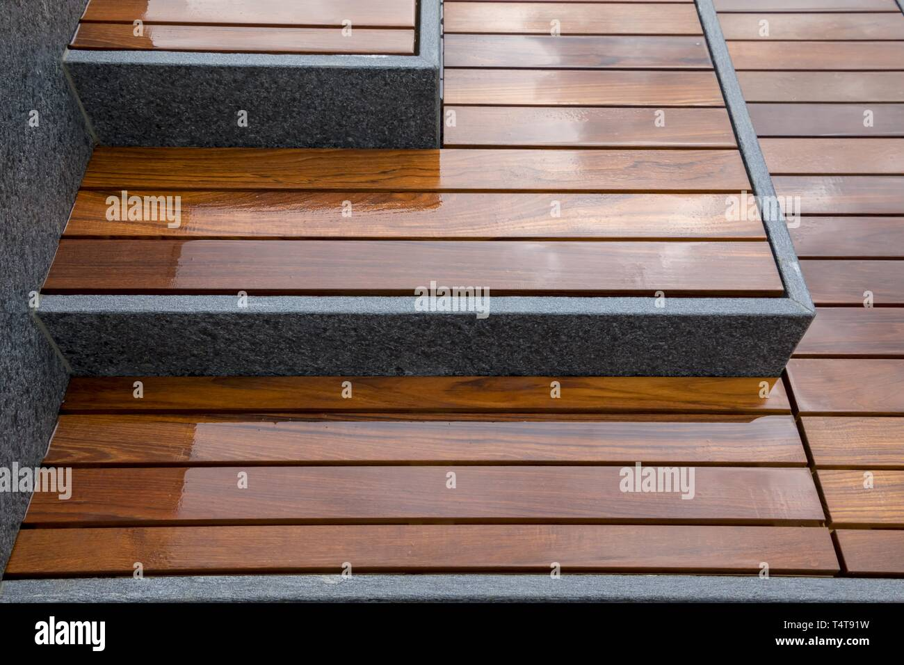 Wood Staircase With Granite Stone Stock Photo Alamy