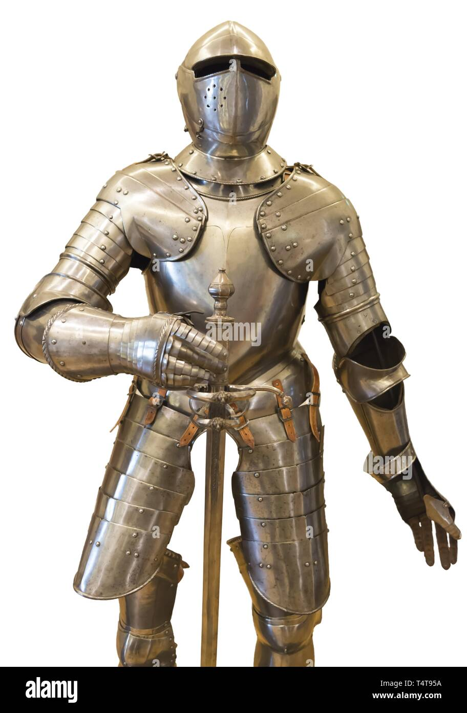 Suit of Armor on White Background - Stock Image