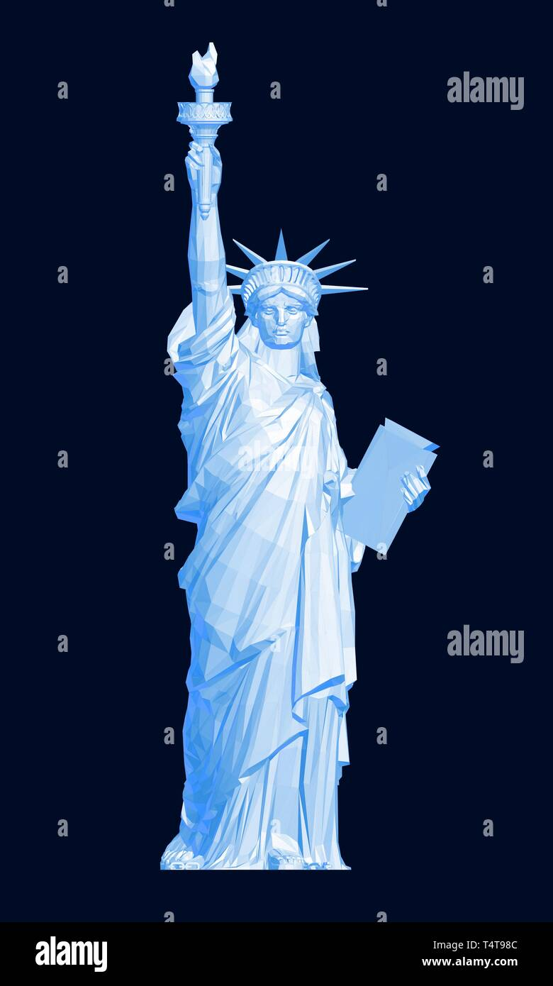 Polygonal Statue of Liberty in blue. 3D. Vector illustration Stock Vector