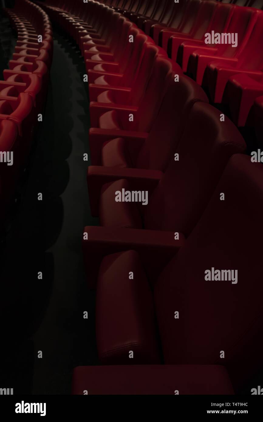 Movie Theater With Red Seat Stock Photo