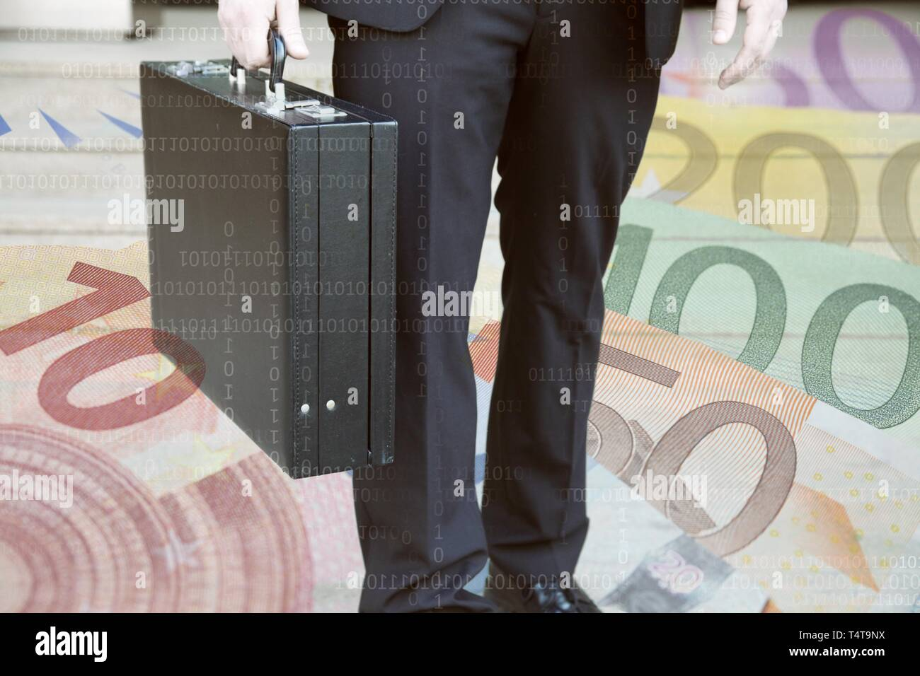 Businessman with briefcase, symbol photo, euro notes - Stock Image