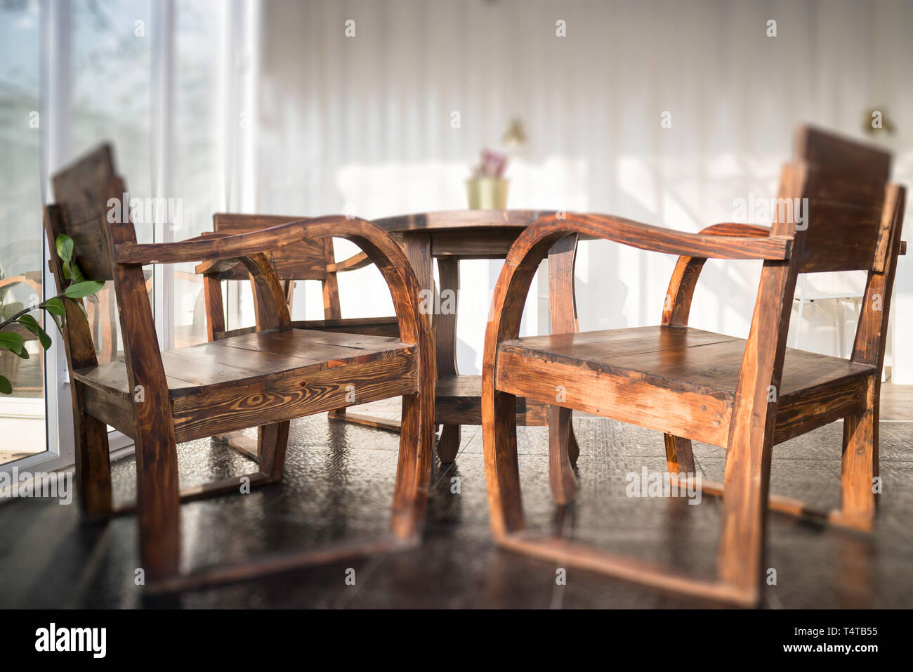 Cargo Container Cafe With Wooden Furniture Set Stock Photo Stock Photo Alamy