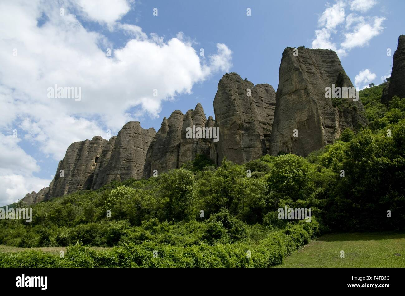 Rock Formation Penitents, Les Mées, Provence, France, Europe - Stock Image