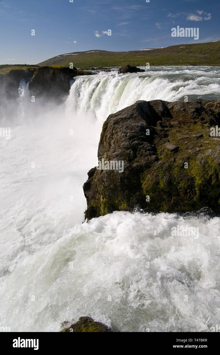 Goðafoss Waterfall on the river Skjálfandafljót, Norðurland eystra, Northeast Iceland, Iceland, Europe - Stock Image