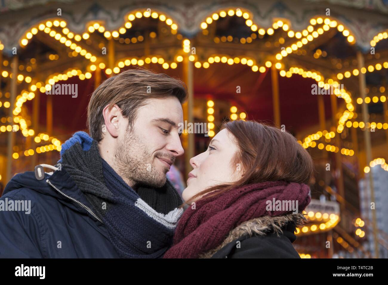A couple looking into each others eyes, Christmas Market, Germany, Europe - Stock Image