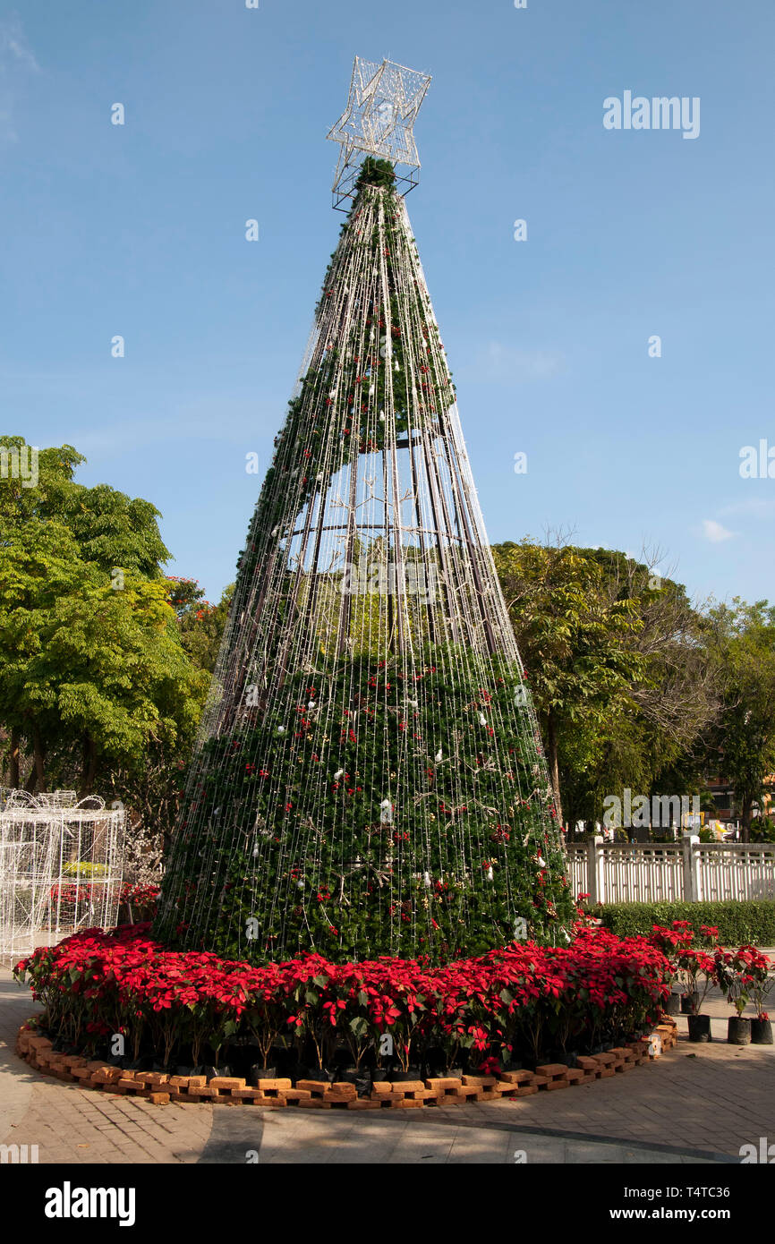 Chiang Mai Thailand, stylized Christmas tree in main square of old town - Stock Image