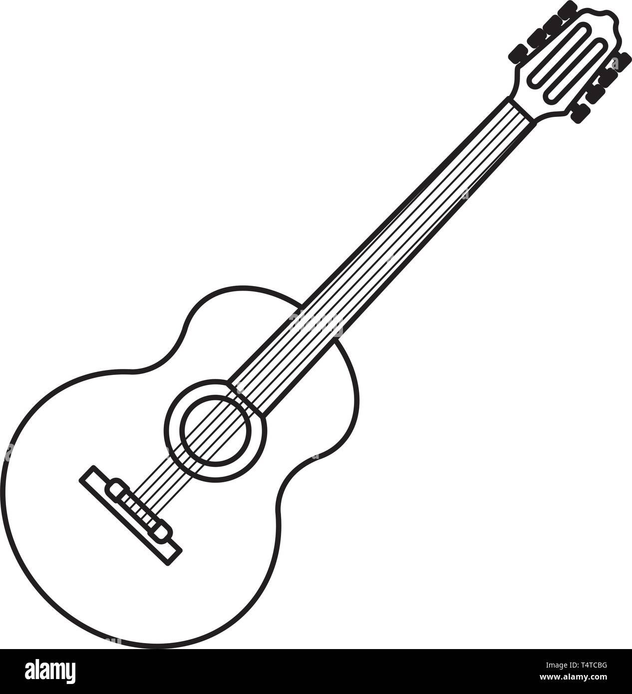 Guitar Icon Cartoon Black And White Stock Vector Image Art Alamy