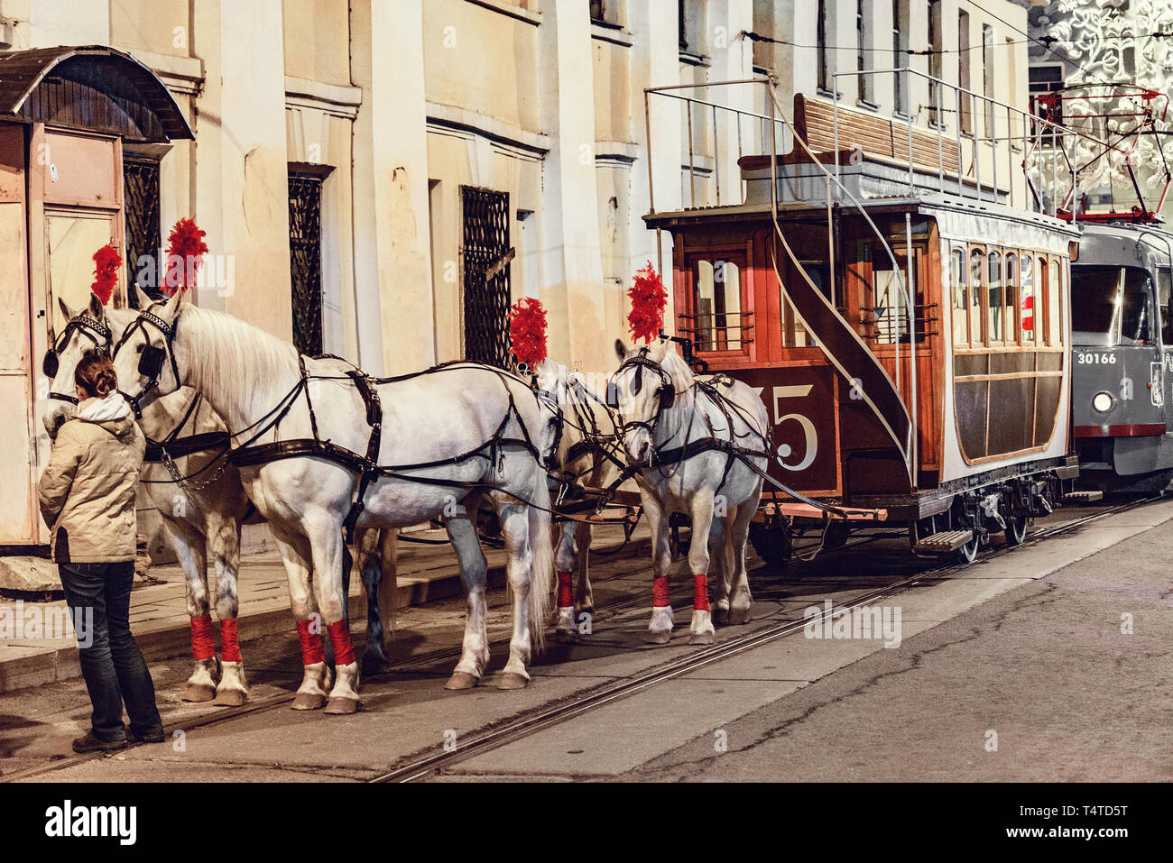 Horses and passenger vintage carriage on the town street in the historical city center before the repetition of traditional trams parade. Stock Photo