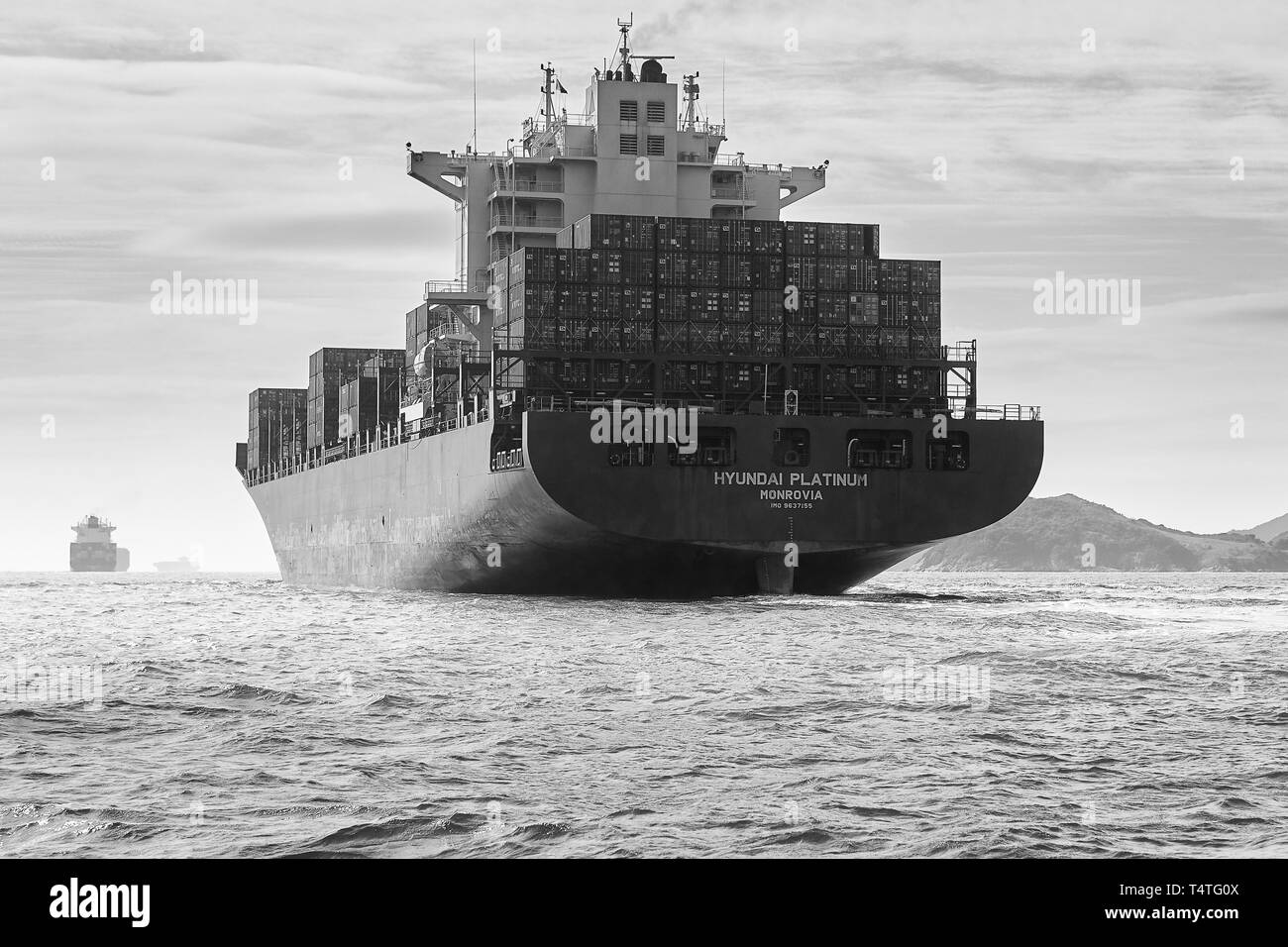 Black And White Photo Of The Giant Container Ship, Hyundai