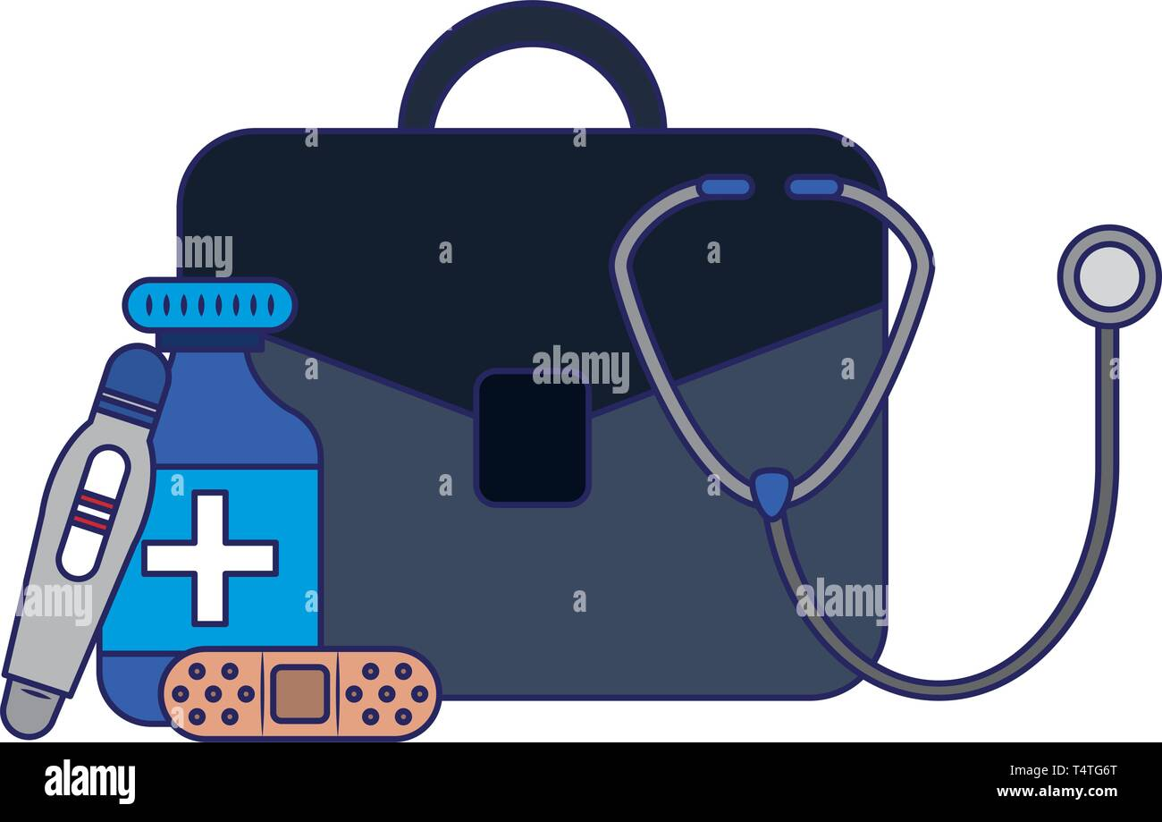 business medical supplies blue lines Stock Vector Art