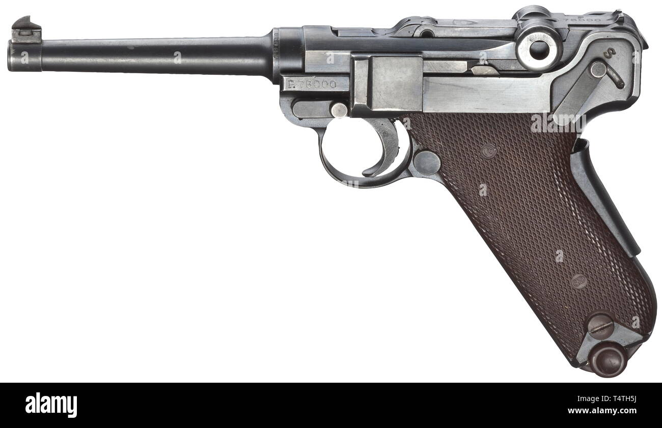 A Parabellum M 1906/29, W+F, Commercial, cal. 7.65 Parabellum, no. P78000. Matching numbers. Bright bore, length 120 mm. Grip safety. Production year 1946. Complete original bluing with minimal usage marks. Brown plastic grip panels. Magazine with brown base. Rare, non-army numbered collectorïs weapon, within P 77942 - P 78258 range, total production 316 weapons. Afterwards production was ceased in favour of 9 mm Parabellum SIG pistols. Almost new condition. Erwerbsscheinpflichtig. historic, historical, civil handgun, civil handguns, handheld, gu, Additional-Rights-Clearance-Info-Not-Available - Stock Image