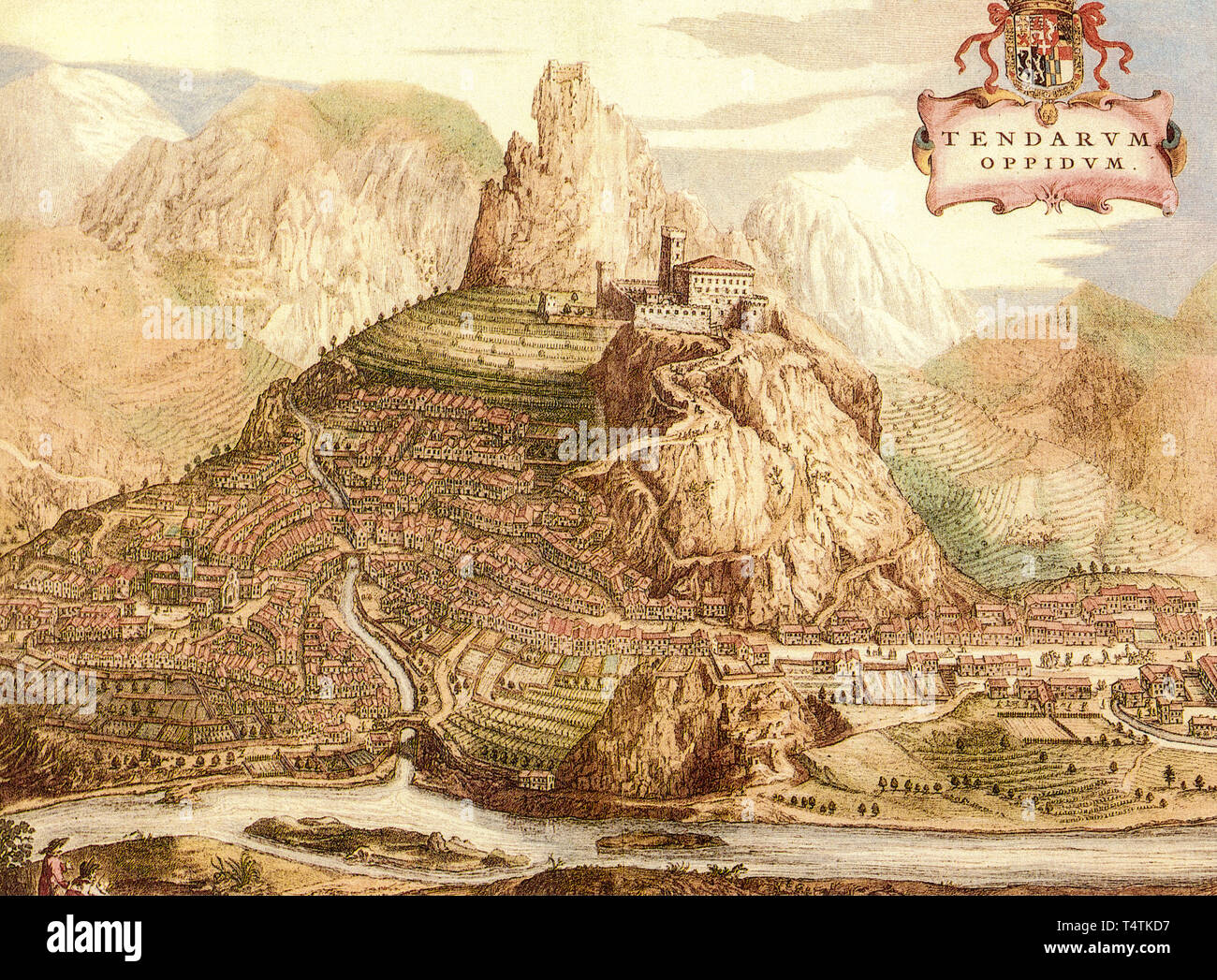 Colle di Tenda and Tenda Valley with fortress in a ancient print of the Theatrum Sabaudiae - Stock Image