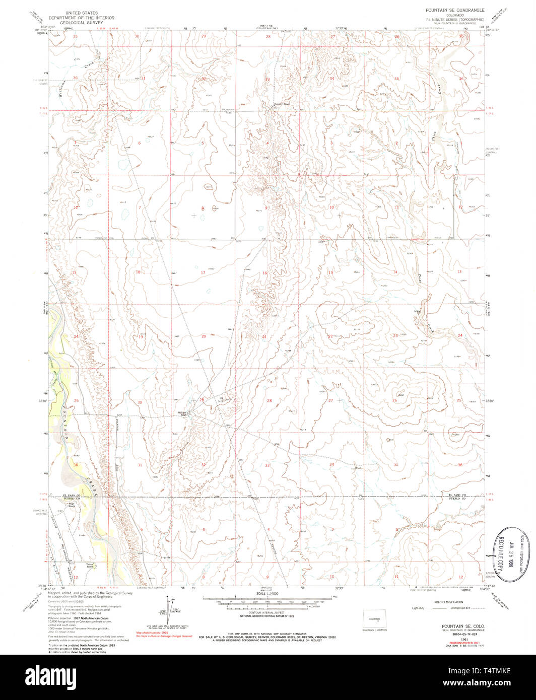 USGS TOPO Map Colorado CO Fountain SE 233025 1961 24000 ... Topographical Maps Of Colorado Fountain on