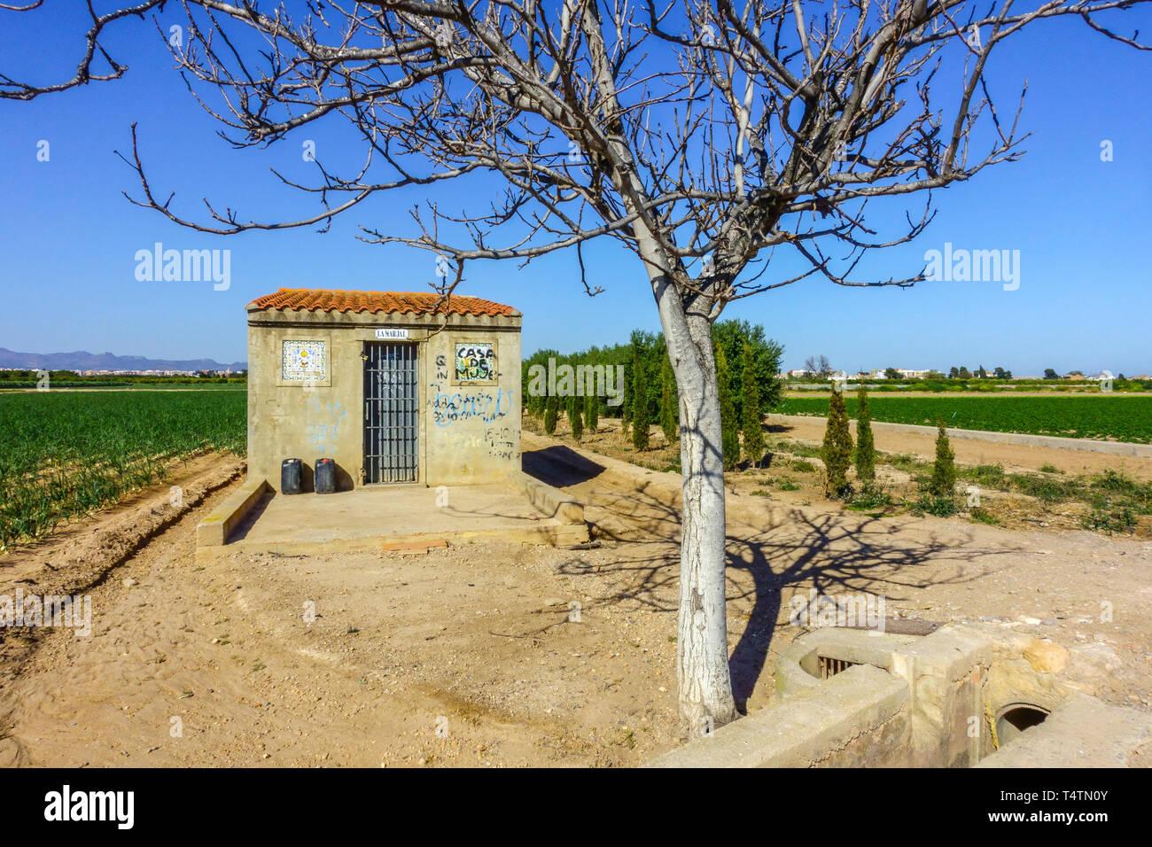 Spain farm, agriculture field in Valencia region, small farmhouse countryside Stock Photo