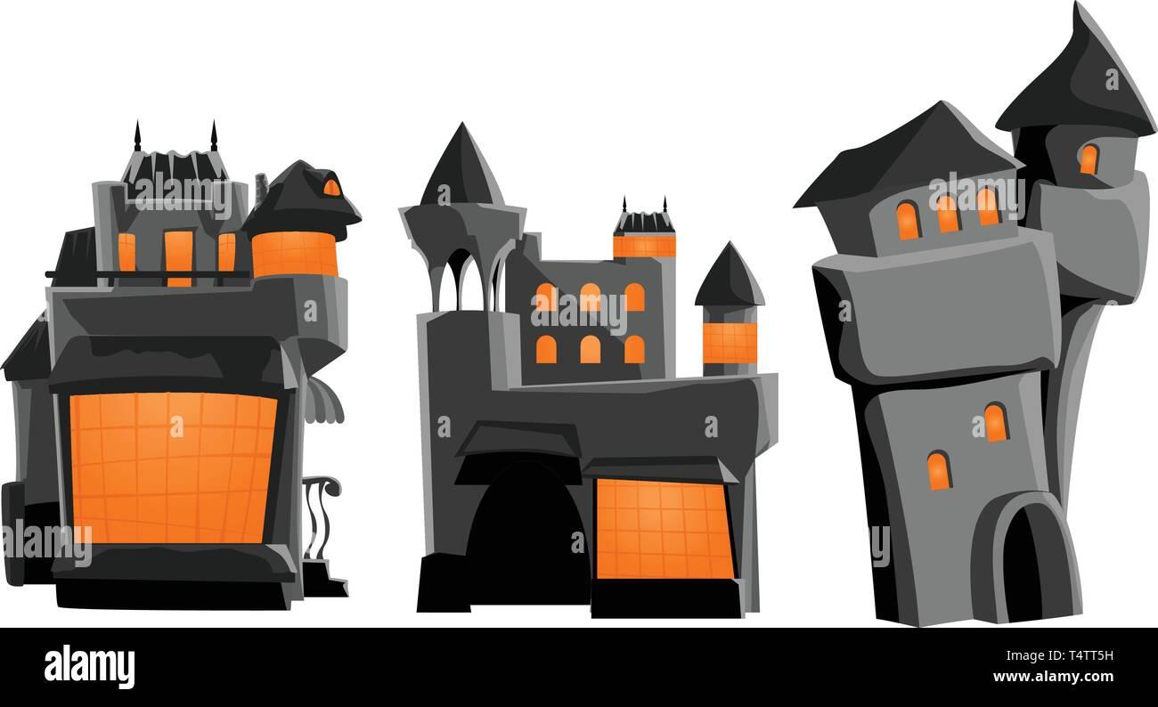 castle grey set - Stock Vector