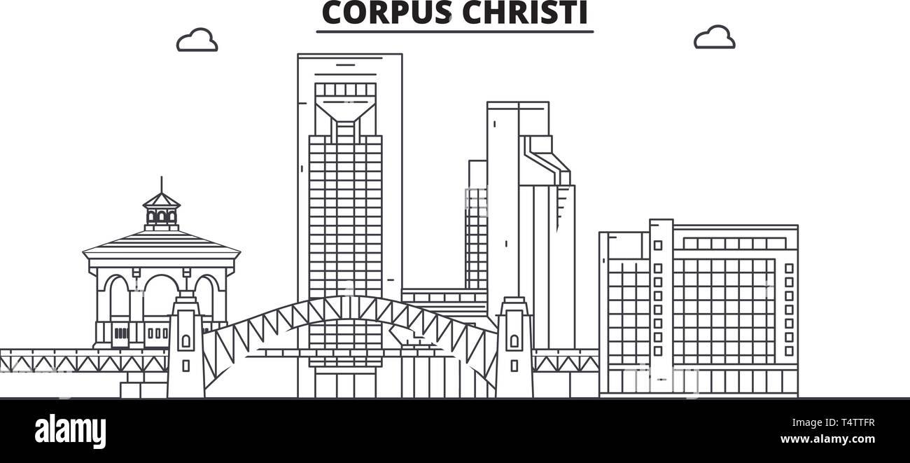 Corpus Christi , United States, outline travel skyline vector illustration.  - Stock Vector