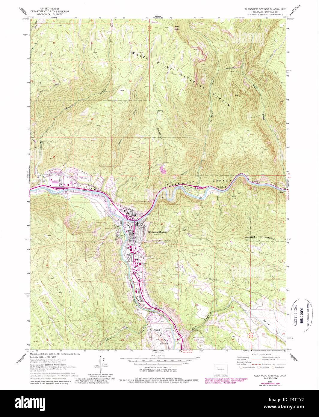 USGS TOPO Map Colorado CO Glenwood Springs 233087 1961 24000 ...