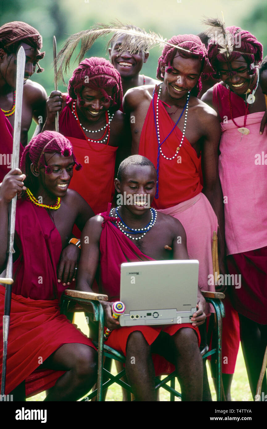 Massai at Kichwa Tembo Tente Camp, - Stock Image