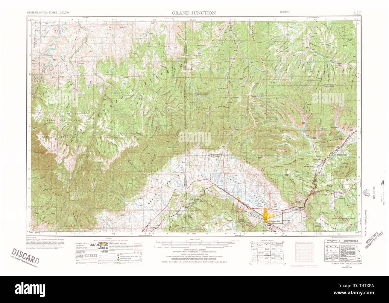 USGS TOPO Map Colorado CO Grand Junction 403120 1956 250000 ...
